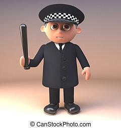 deber, policía, ilustración, uniforme, oficial, cachiporra, ...