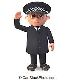 deber, policía, ilustración, uniforme, oficial, ondas, ...