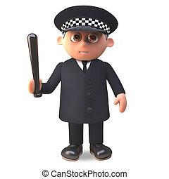 deber, policía, tenencia, ilustración, uniforme, oficial, ...