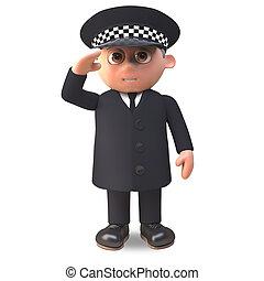deber, saludo, policía, ilustración, uniforme, oficial, ...