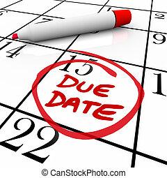 debido, fecha, calendario, dar la vuelta, para, embarazo, o,...