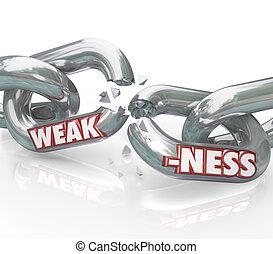 debilidad, palabra, en, rotura, débil, enlaces de cadena