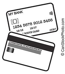 Debit Card Black And White Logo - Front and back of a black...