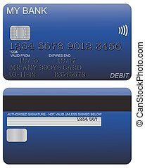 Debit Card Detail Blue - Front and back of blue debit card...