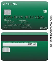 Debit Card Detail Green - Front and back of green debit card...