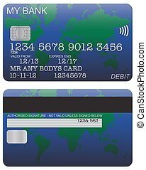 Debit Card Detail World Map - Front and back of a world map...