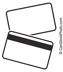 Debit Card Empty Silhouettes - Front and back of a blank...