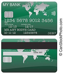 Debit Card Green World Map - Front and back of a green world...