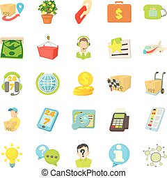Debit card icons set, cartoon style - Debit card icons set....