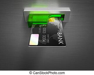Debit card in a cash. - Debit card in a cash machine 3D ...