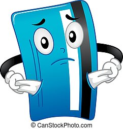 Debit Card Mascot No Money Illustration
