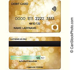 Debit card on a white background. Vector illustration.