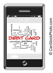Debit Card Word Cloud Concept on Touchscreen Phone