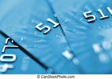 Debit cards. - Debit cards in blue tone. Macro shot....