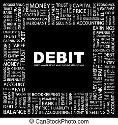 DEBIT. Concept illustration. Graphic tag collection....