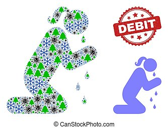 Debit Grunge Seal and Crying Praying Woman Composition Icon with Winter and Coronavirus Items