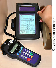 debit terminal - swiping debit card on terminal