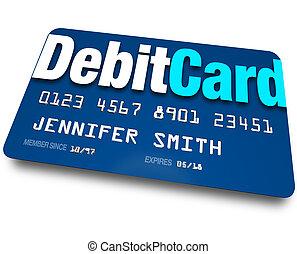 debitere card, plastik, bank, charge, bankvirksomhed, konto