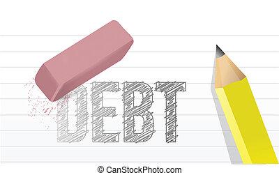 debiti, disegno, concetto, cancellare, illustrazione