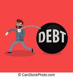 debito, bomba, uomo affari