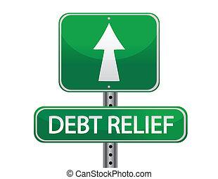 debito, strada, sollievo, segno
