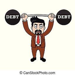 debito, vettore, ascensore, barbells, affari illustrazione