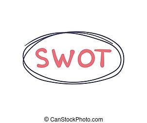 debolezze, affari, strenghts, concept., opportunità, vettore, minacce, scritto mano, segno., swot