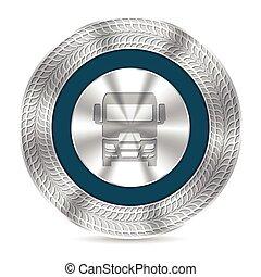 debossed, タイヤ痕跡, トラック, バッジ, 涼しい