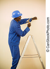 debout, échelle, ouvrier construction