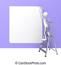 debout, échelle, solutions, wall., bannière, homme