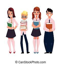 debout, élèves, gosses, étudiants, livres école