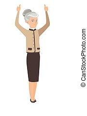 debout, élevé, affaires femme, bras haut, personne agee