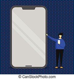 debout, énorme, géant, smartphone, tenue, pointage, cellphone, mobile, main., reflet, effet, gadget., personne, saisir, présentation, autre, vide, brillant, écran, homme