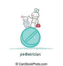 debout, énorme, pédiatre, tablette, enfant