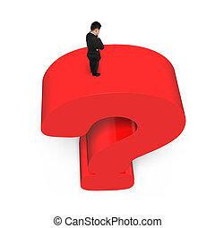 debout, énorme, point interrogation, fond, homme affaires, blanc rouge, 3d