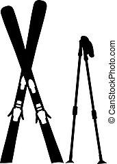 debout, équipement, ski, neige