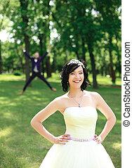 debout, été, parc, mariée, jour, heureux