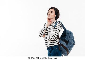 debout, adolescent, sac à dos, jeune, portrait, girl