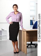 debout, affaires femme, bureau