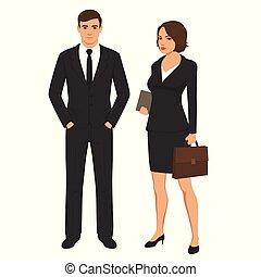 debout, affaires femme, gens, businesswoman., caractères, homme affaires, homme