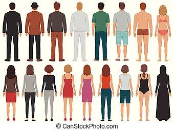 debout, affaires femme, gens, groupe, dos, isolé, personne, caractères, homme, vue