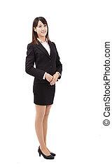 debout, affaires femme, jeune, asiatique, sourire