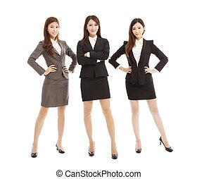 debout, affaires femme, jeune, isolé, confiant, équipe, blanc
