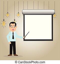 debout, annonce, reporting., monté, projecteur, pointage, présentation, écran, idée, wall., conversation, crosse, tenue, vide, formation, blanc, créatif, cravate, toile de fond, homme