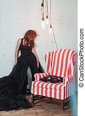 debout, antiquité, femme, fauteuil, plein-longueur, jeune, magnifique, portrait