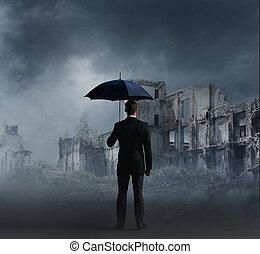 debout, apocalyptique, parapluie, default, sur, setback, ...