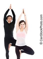 debout, arbre, couple, pose, yoga