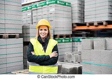 debout, area., ouvrier industriel, femme