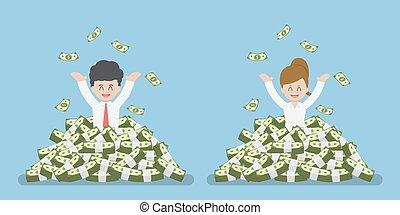 debout, argent, heureux, tas, homme affaires