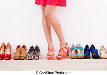 debout, armé, chaussures, elle, fait, mur, image, elle, pose...